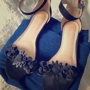 Eloquii Black Satin Woven Flats Slides Dressy Sandals New in Box Size 9 W